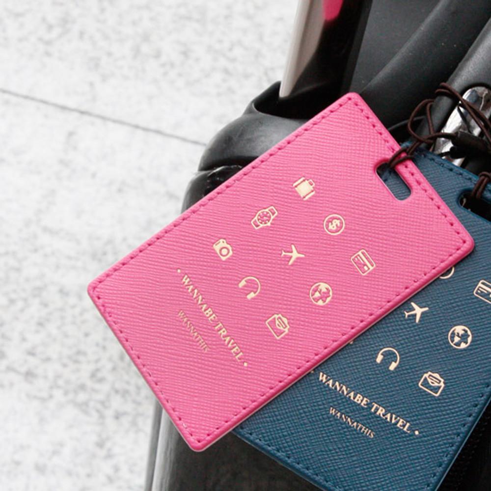 Hot pink - Wannabe pictogram travel luggage name tag