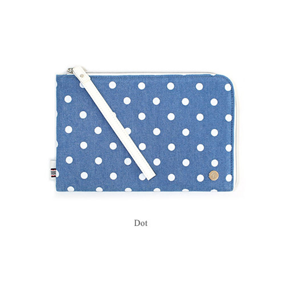 Dot - The basic denim iPad mini pouch with a hand strap