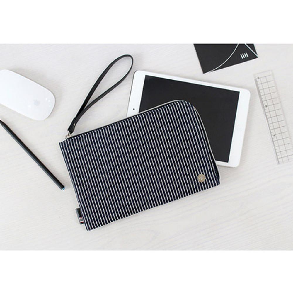 Stripe - The basic denim iPad mini pouch with a hand strap
