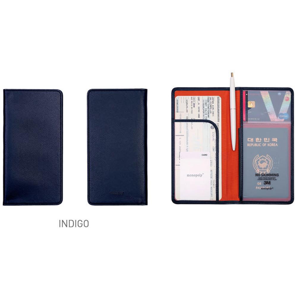 Indigo - Classy plain RFID blocking long passport case