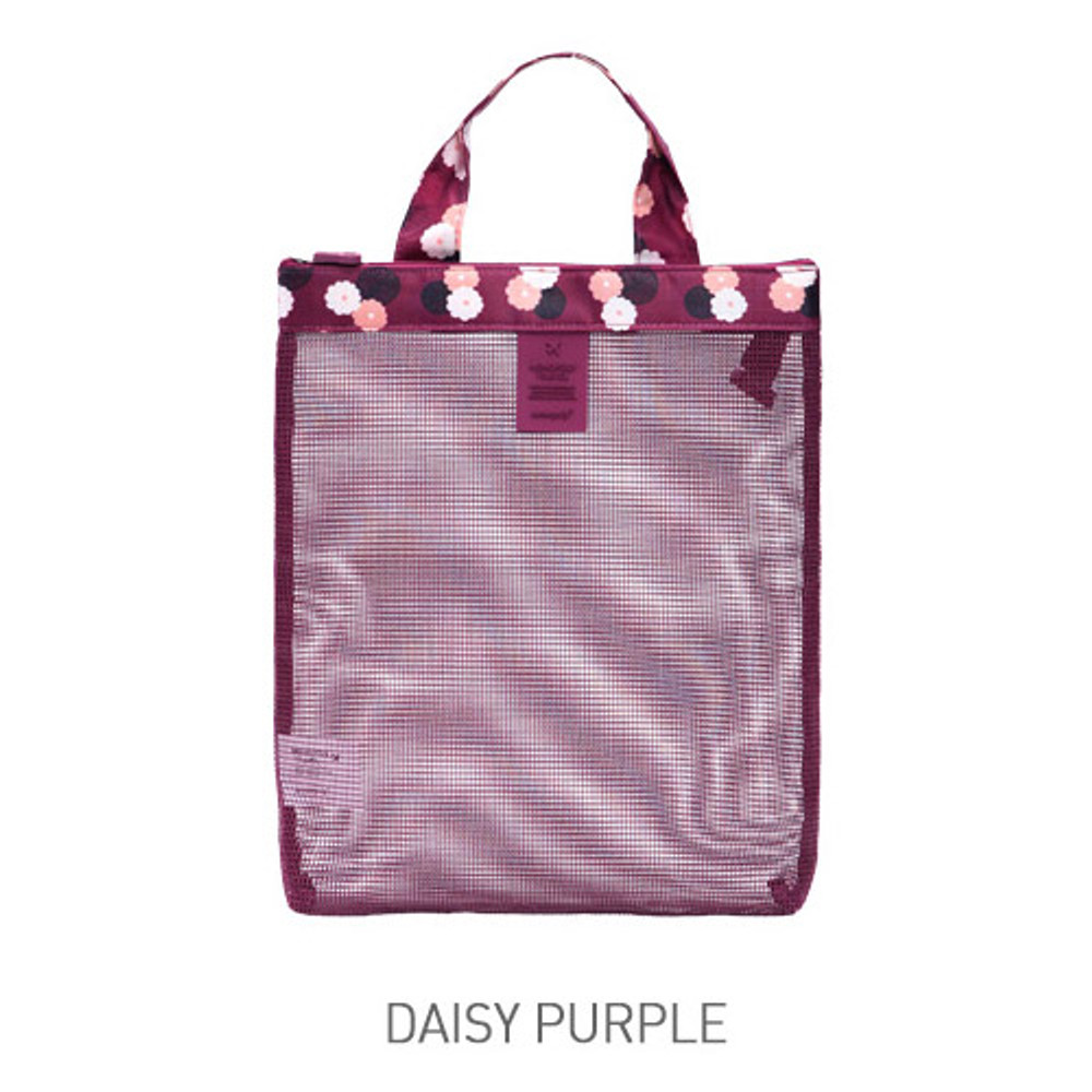 Daisy purple - Coated mesh handy tote bag pouch