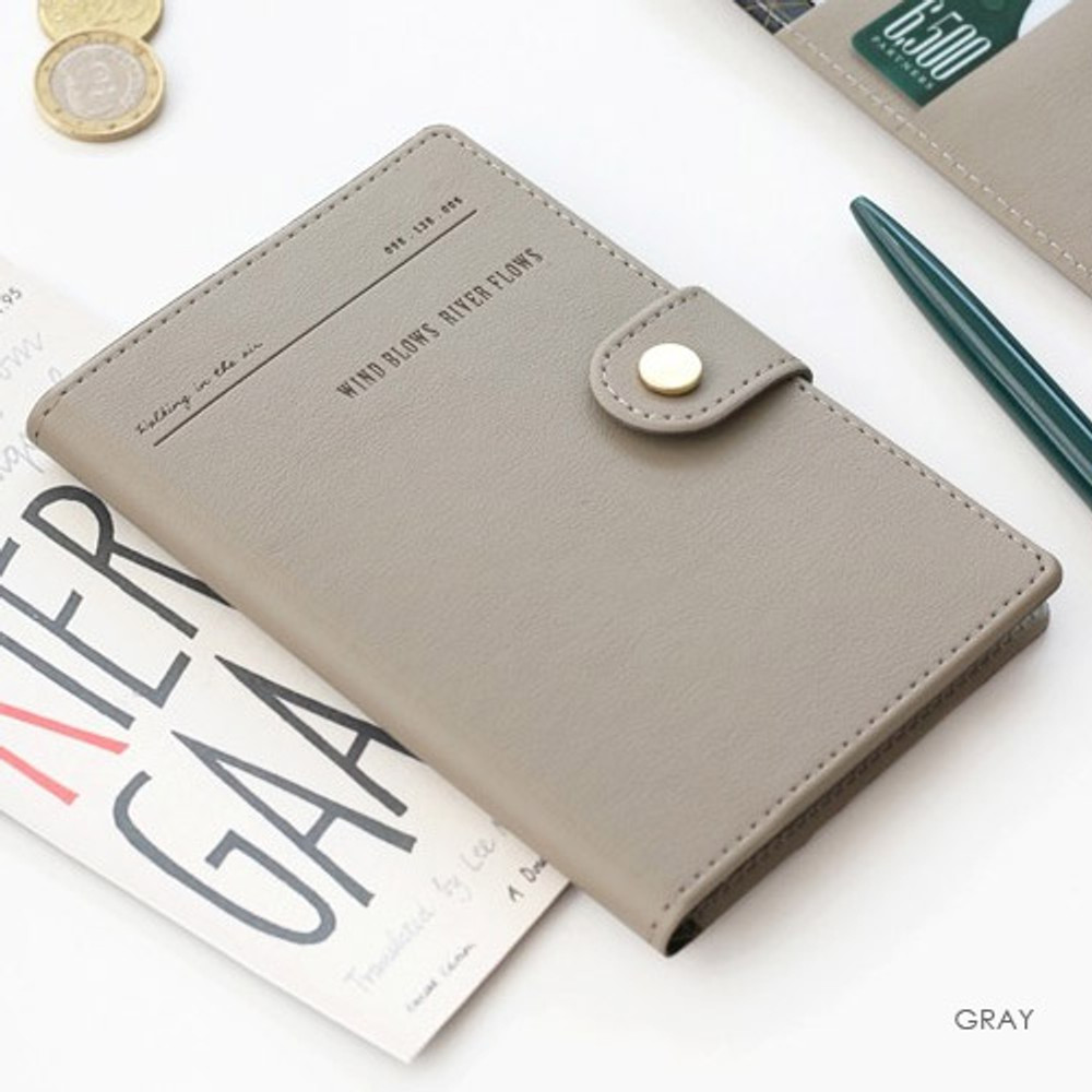 Gray - Snap button RFID blocking passport case