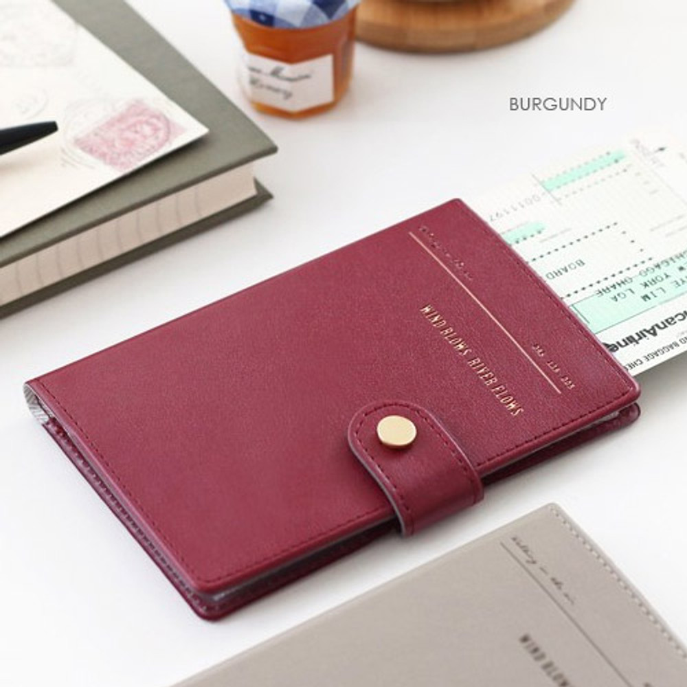 Burgundy - Snap button RFID blocking passport case