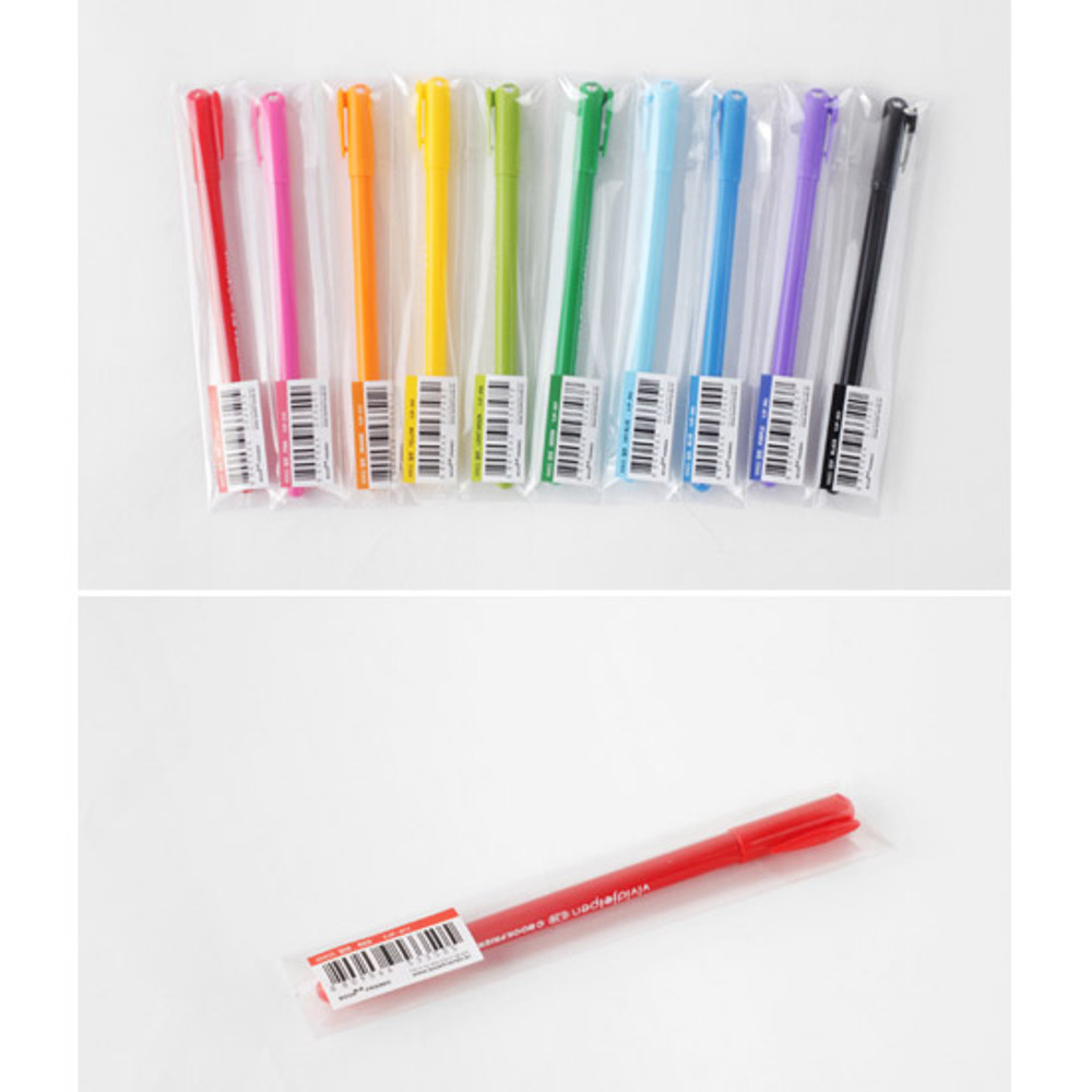 Package for Rainbow vivid color gel pen 0.38mm