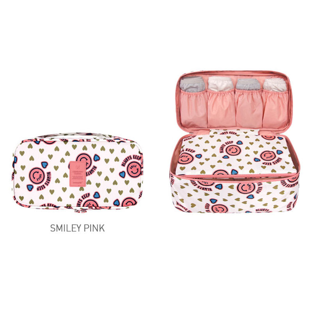 Smiley pink - Merrygrin travel large pouch bag for underwear
