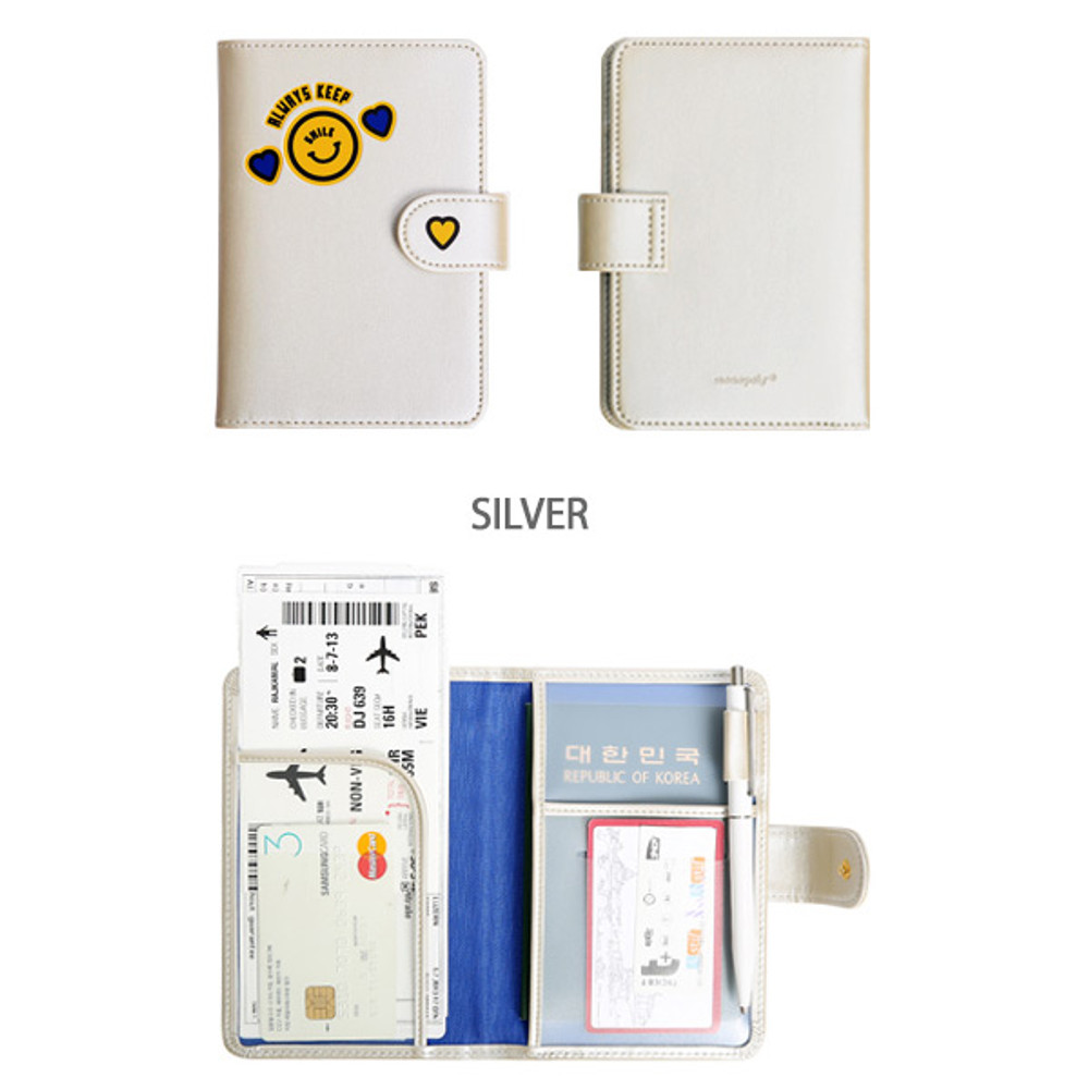 Silver - Merrygrin RFID blocking small passport case