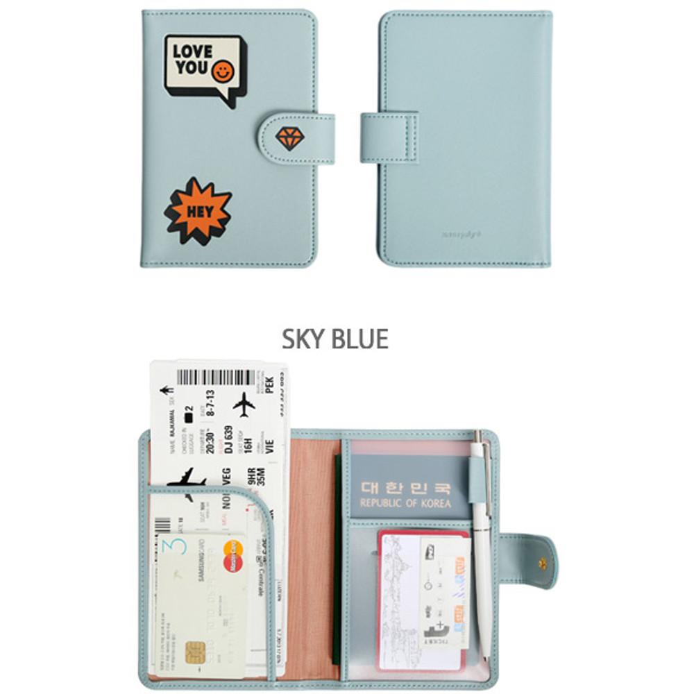Sky blue - Merrygrin RFID blocking small passport case
