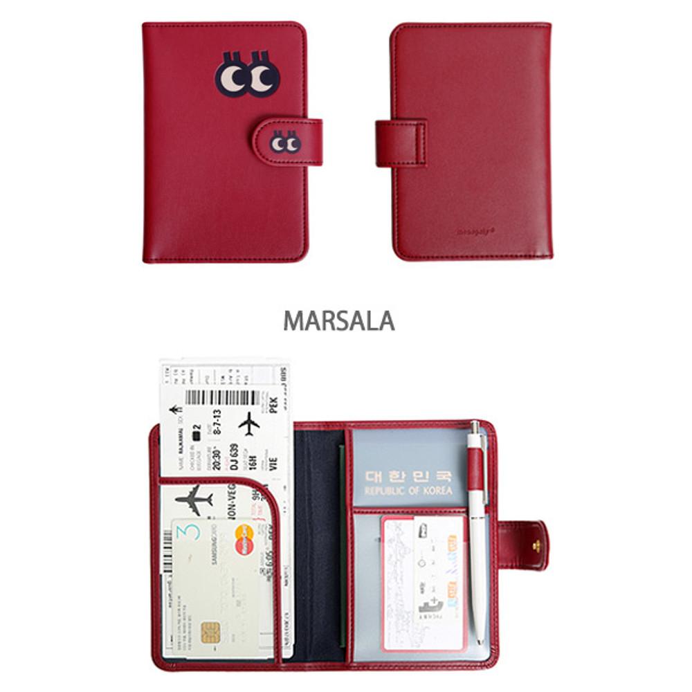 Marsala - Merrygrin RFID blocking small passport case