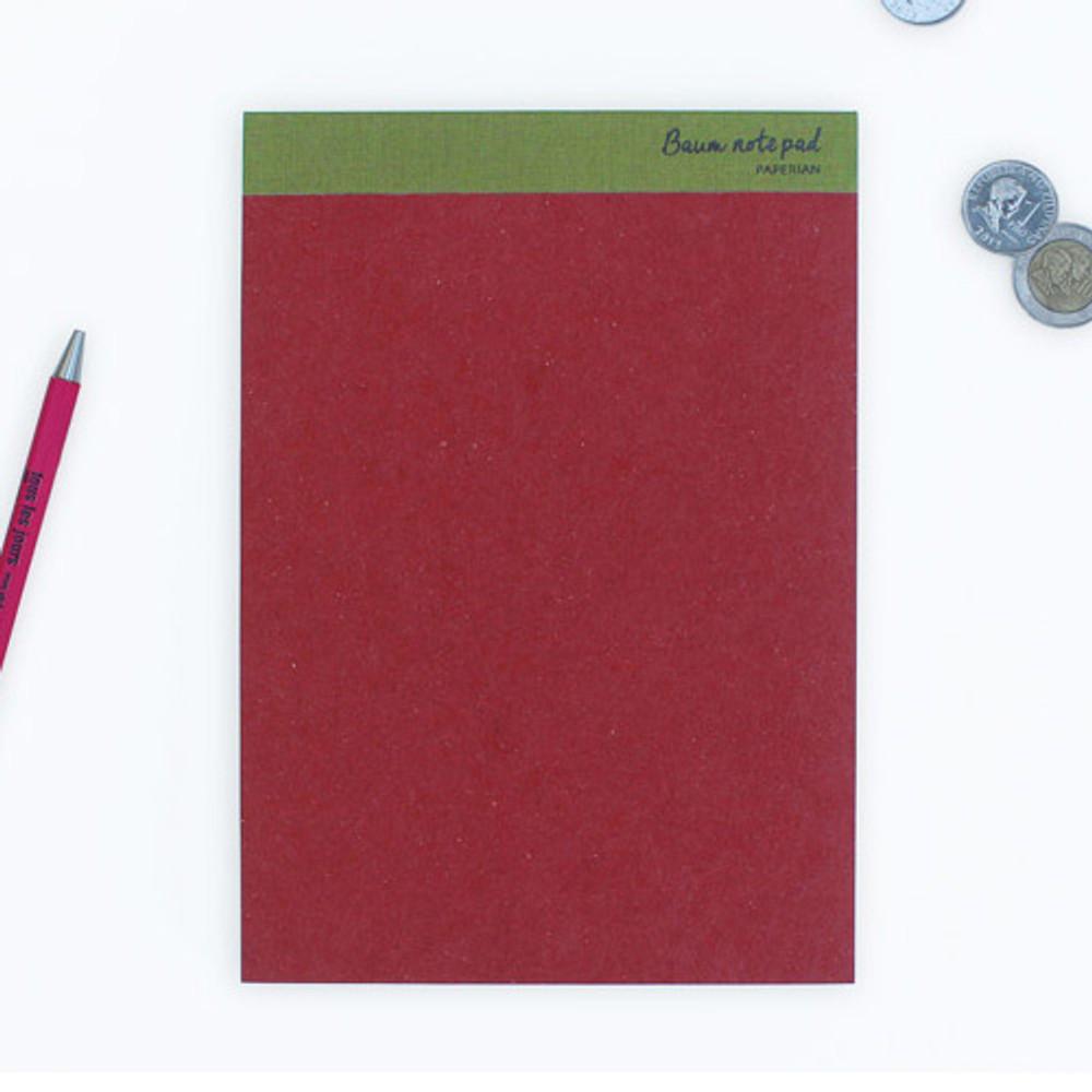 Scarlet - Baum simple A5 size plain notepad