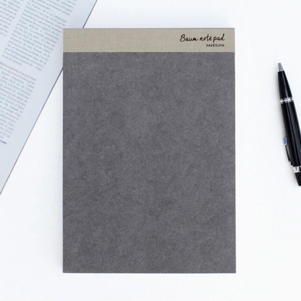 Gray - Baum simple A5 size plain notepad