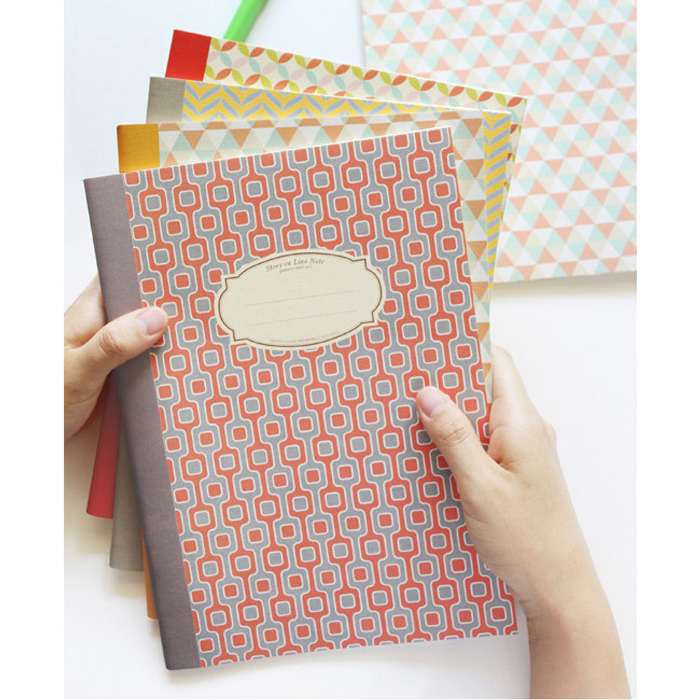 Story on geometric motif lined notebook