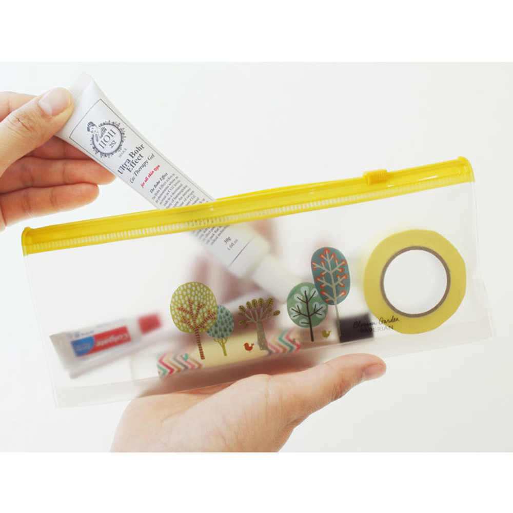 Central park - Blossom garden clear zip lock large pouch