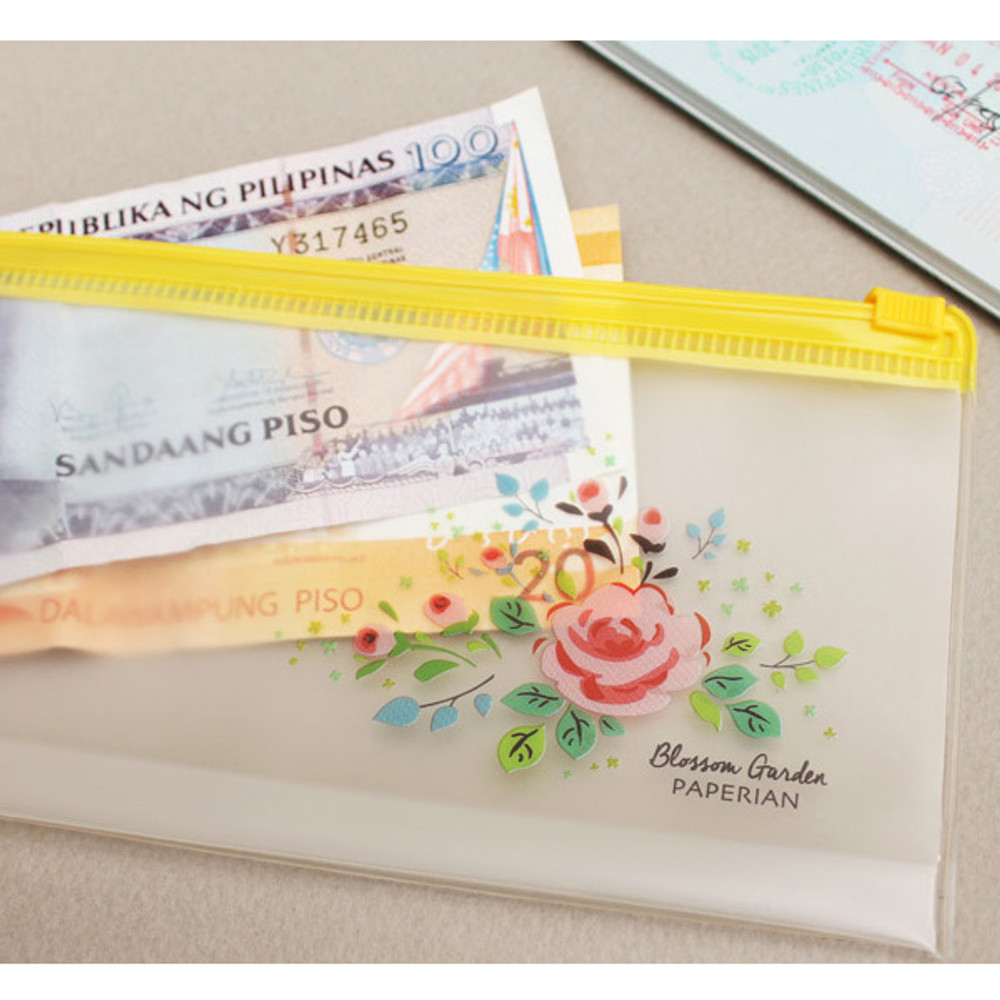 Detail of Blossom garden clear zip lock large pouch