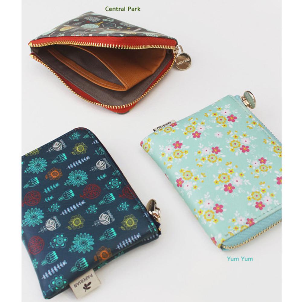 Blossom garden half zip around pocket wallet