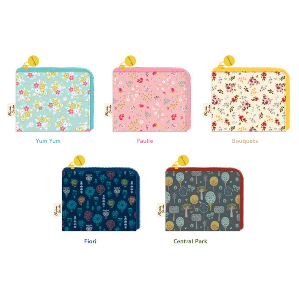 Patterns of Blossom garden half zip around pocket wallet