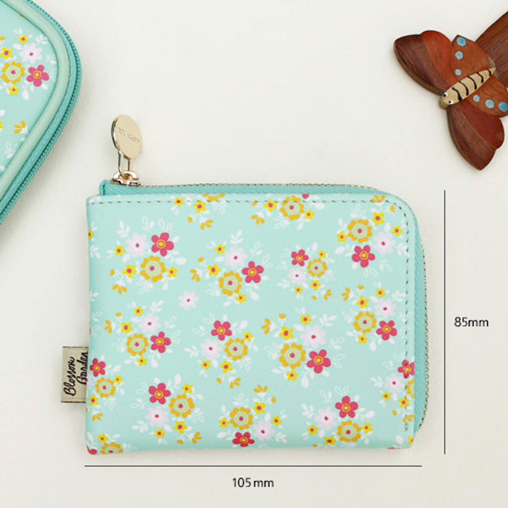Yum Yum - Blossom garden half zip around pocket wallet