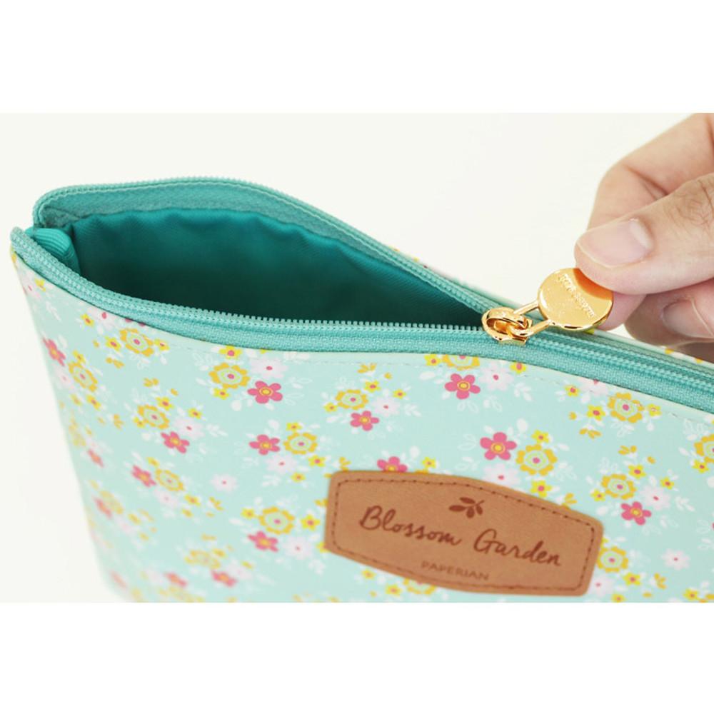 Detail of Blossom garden large zipper pouch