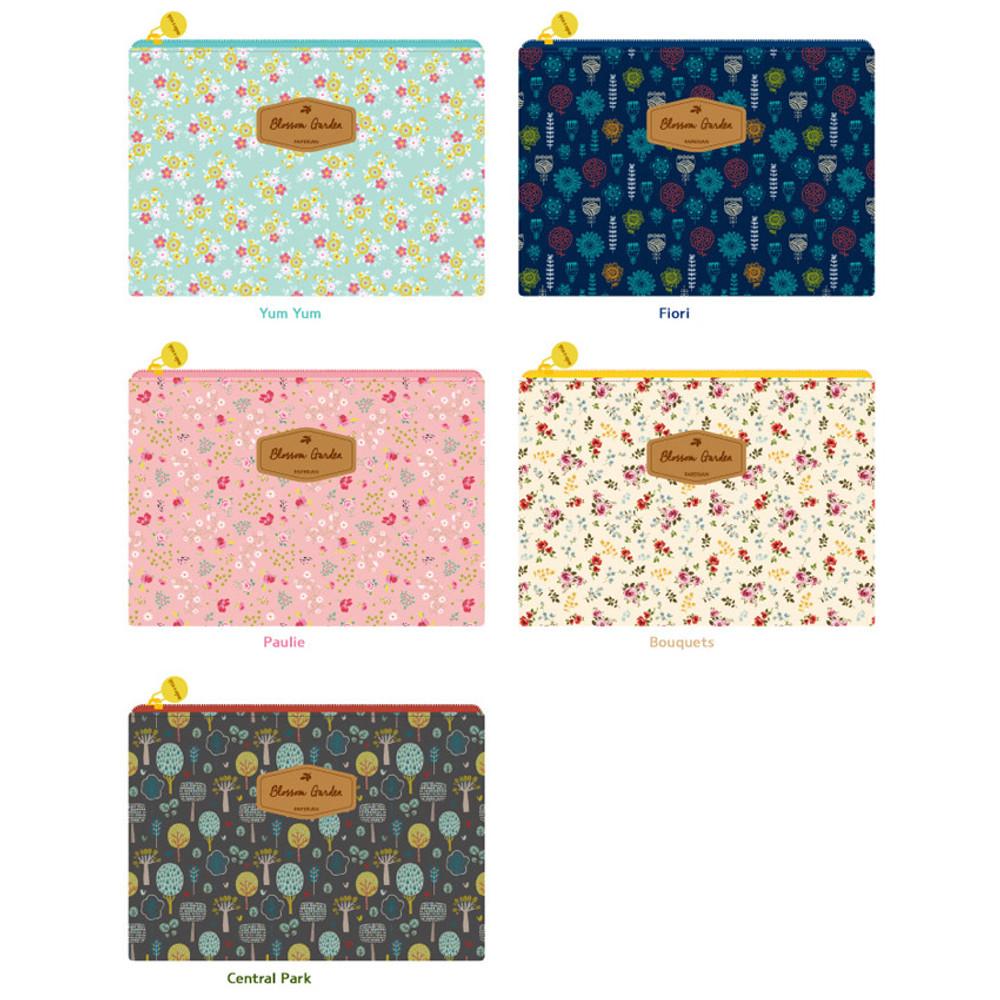 Patterns of Blossom garden large zipper pouch