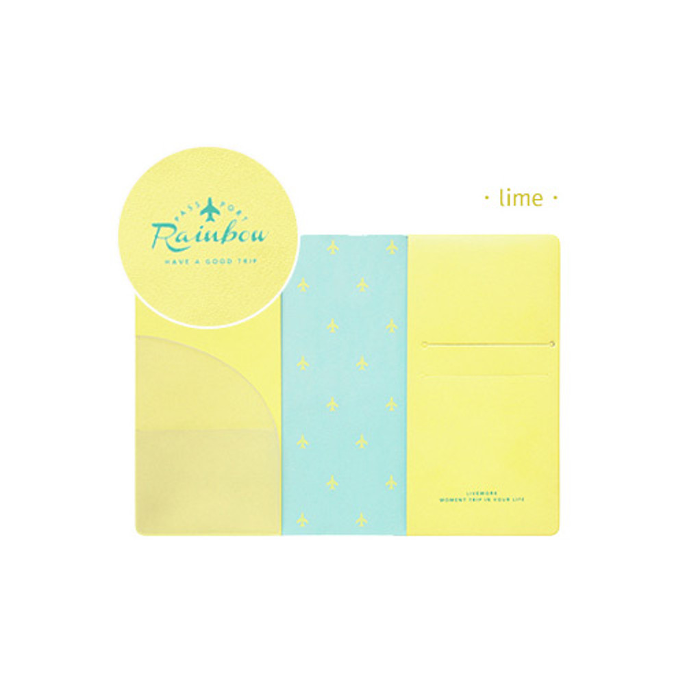 Lime - Travel rainbow passport cover case