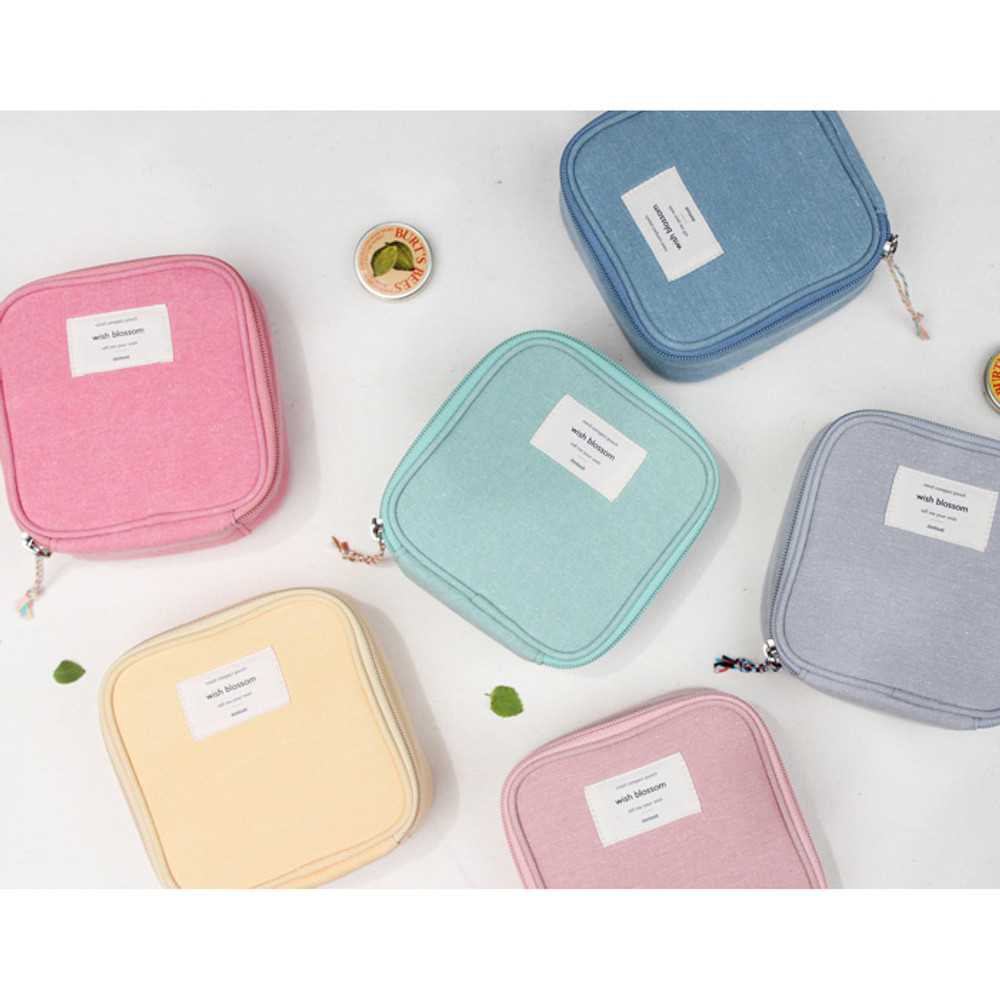 Wish blossom mind compact zipper pouch