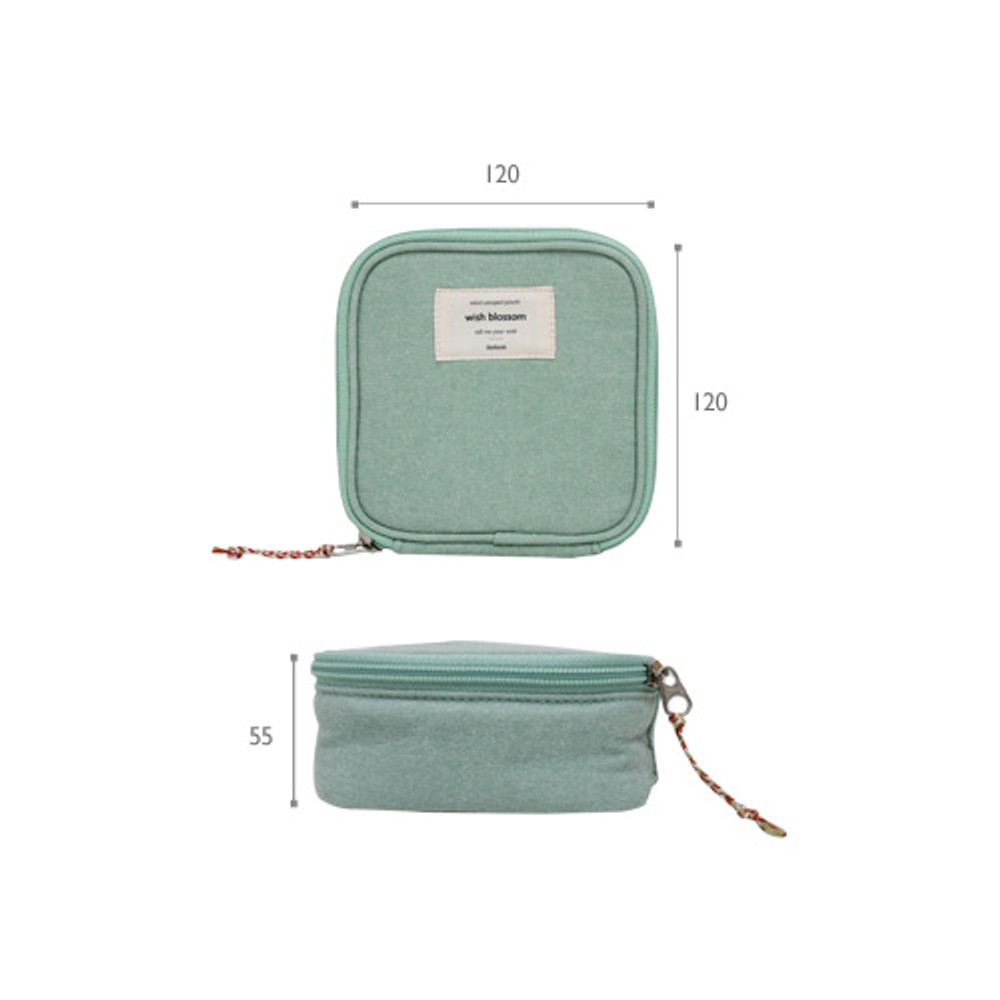 Size of Wish blossom mind compact zipper pouch