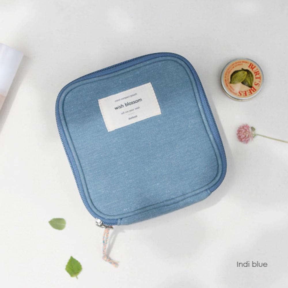 Indi blue - Wish blossom mind compact zipper pouch