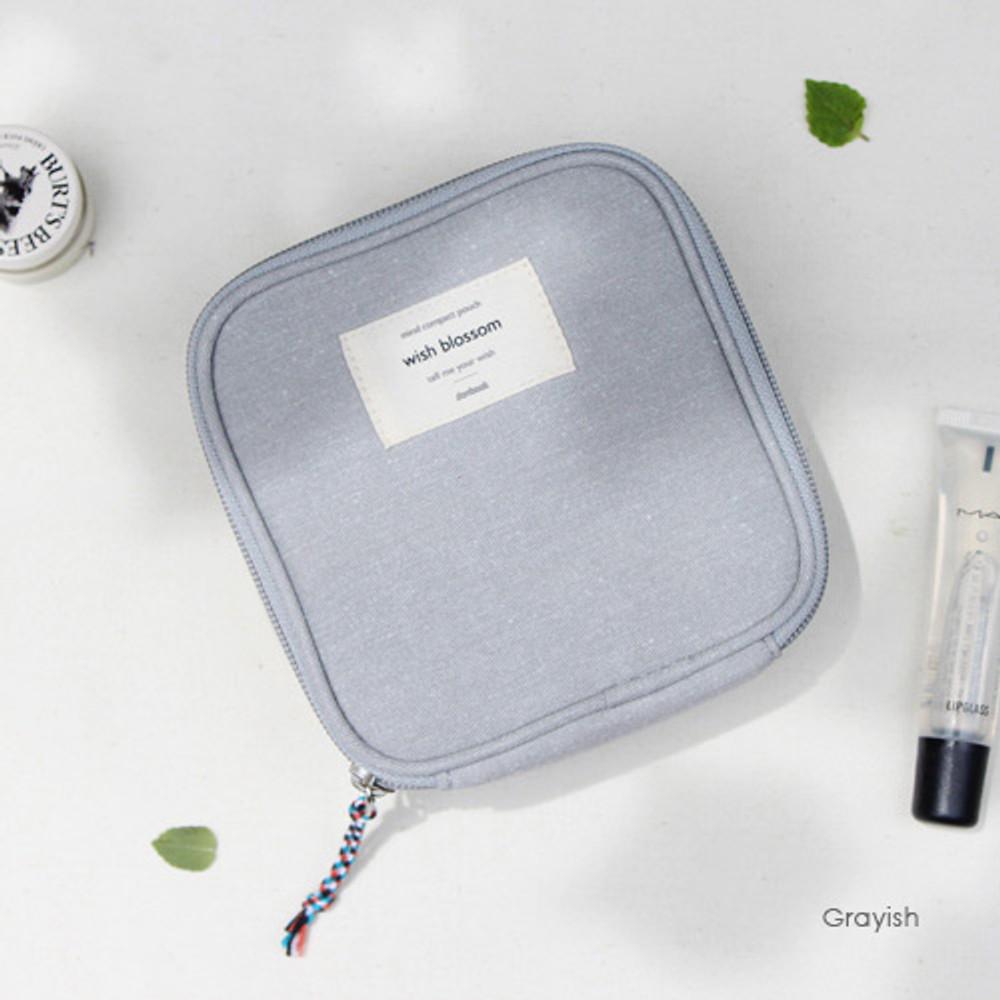 Grayish - Wish blossom mind compact zipper pouch