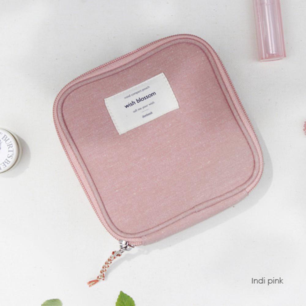 Indi pink - Wish blossom mind compact zipper pouch
