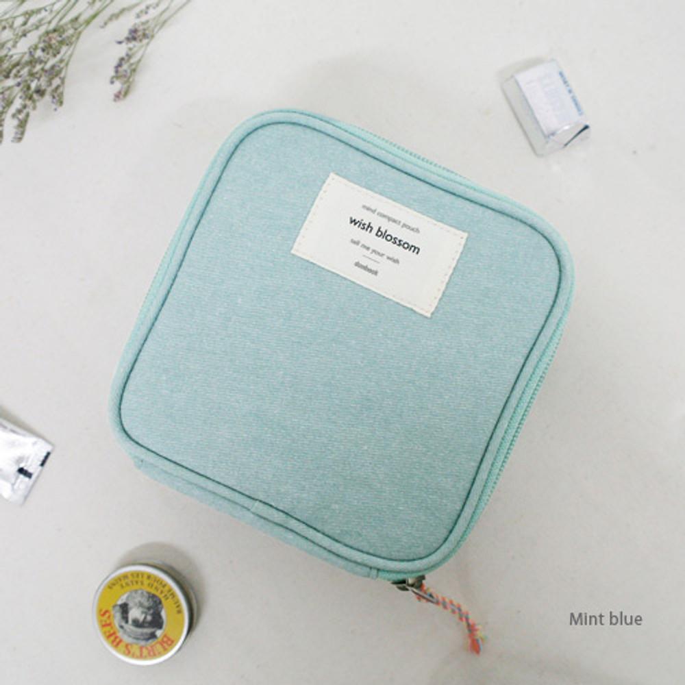 Mint blue - Wish blossom mind compact zipper pouch