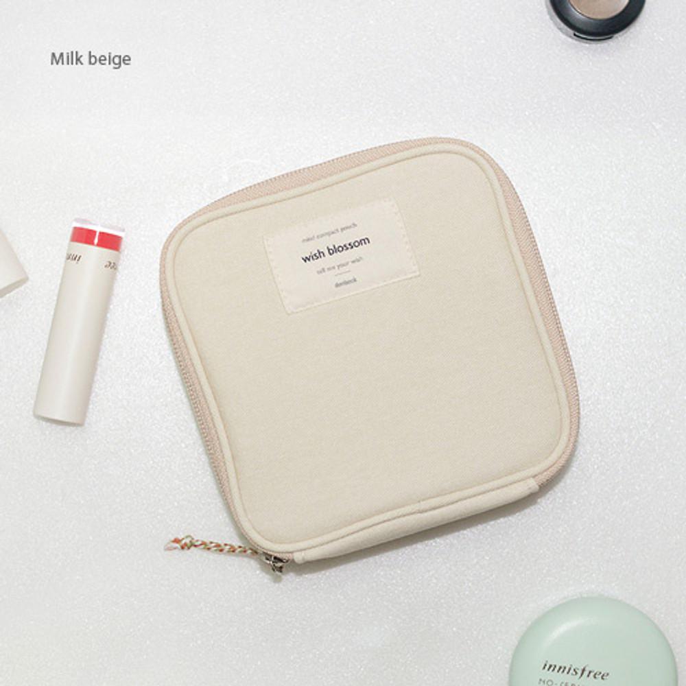 Milk beige - Wish blossom mind compact zipper pouch