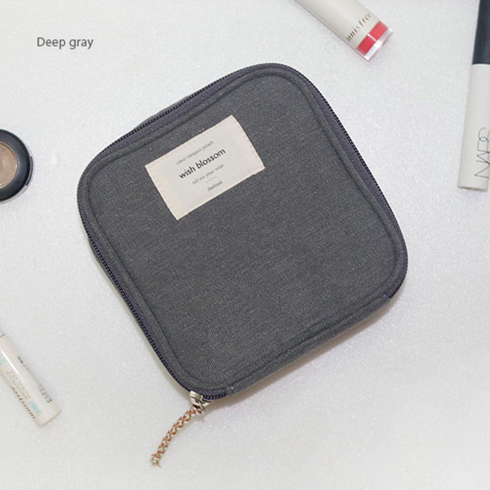 Deep gray - Wish blossom mind compact zipper pouch