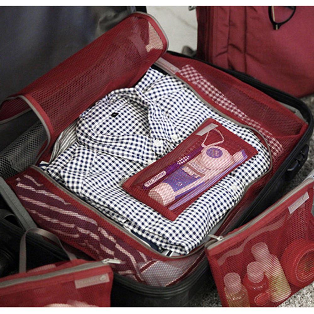 Burgundy - Travelus mesh packing organizer bag XL ver.2