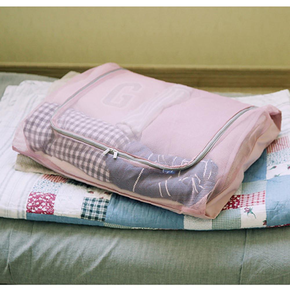 Soft pink - Travelus mesh packing organizer bag XXL ver.2