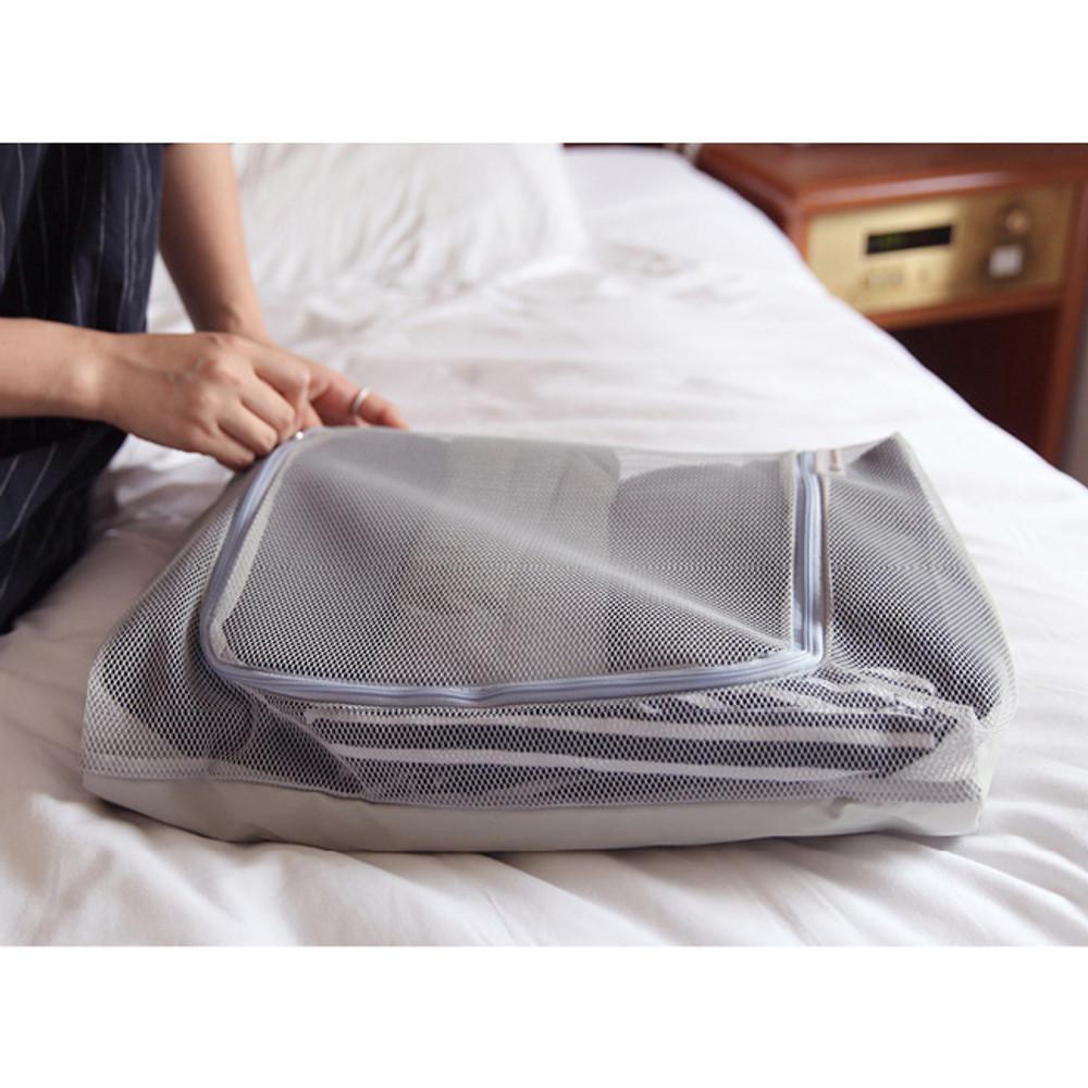 Light gray - Travelus mesh packing organizer bag XXL ver.2