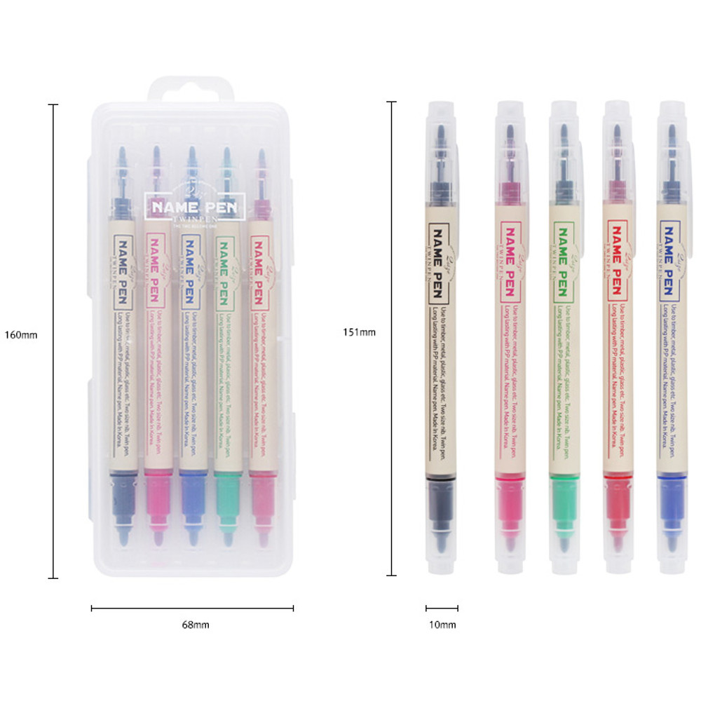 Size of Double ended fine point sharpie name pen