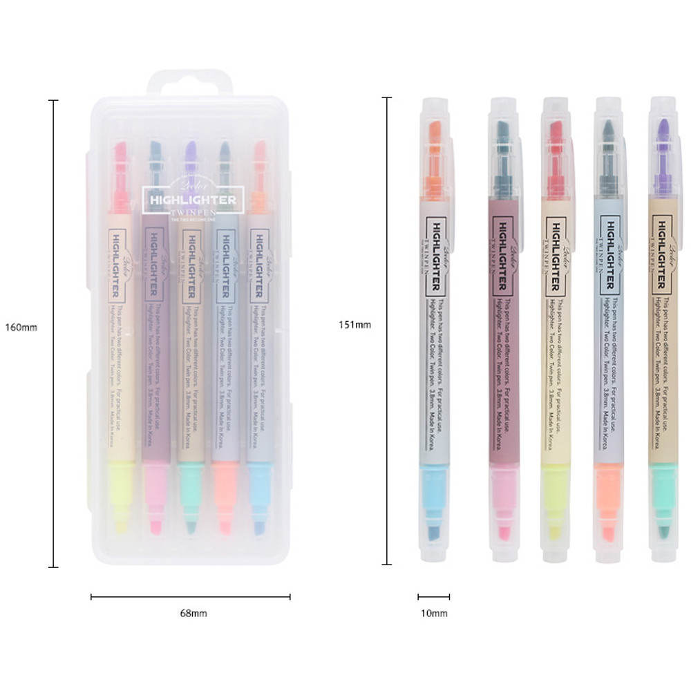 Size of 10 Colors double ended highlighter pen set