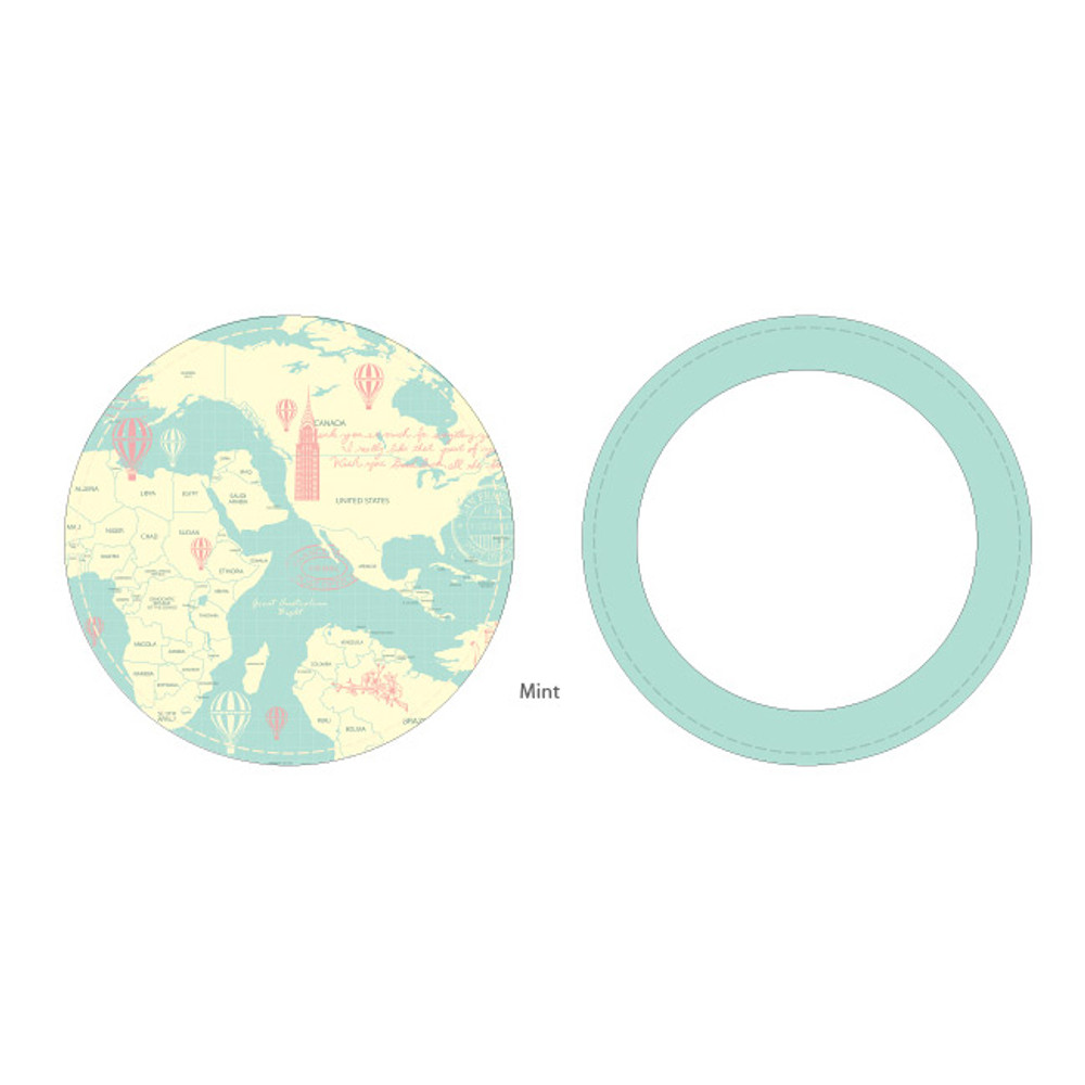 Mint - World map pattern round handy mirror