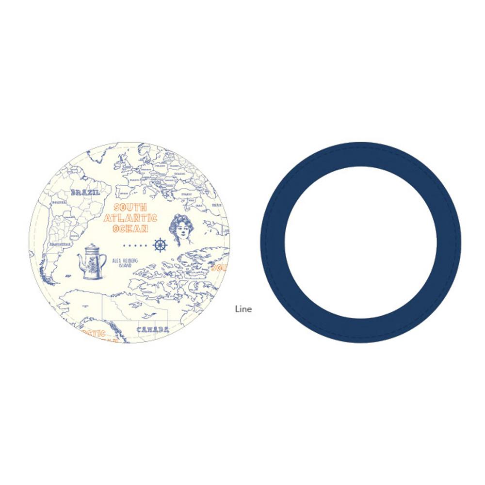 Line - World map pattern round handy mirror