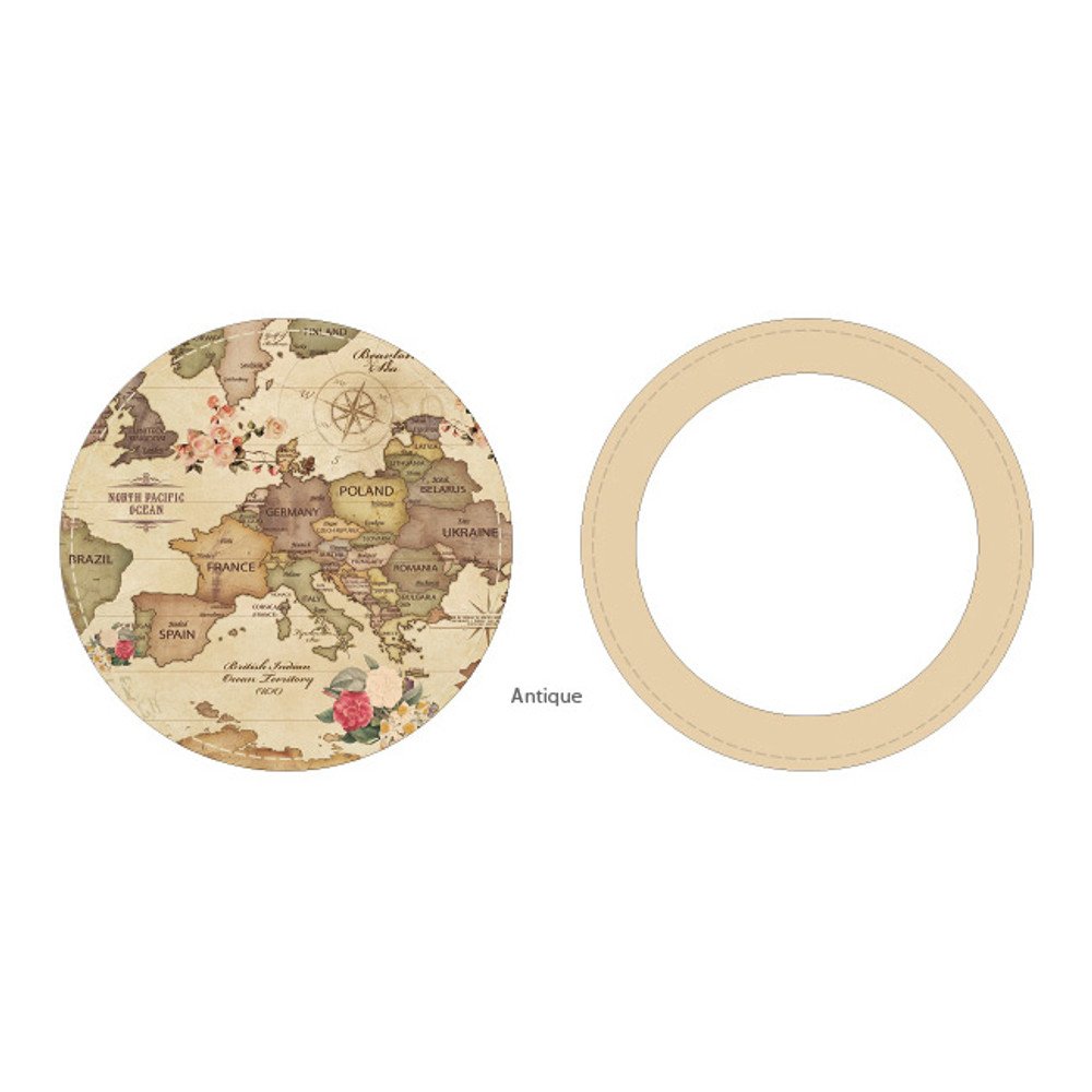 Antique - World map pattern round handy mirror