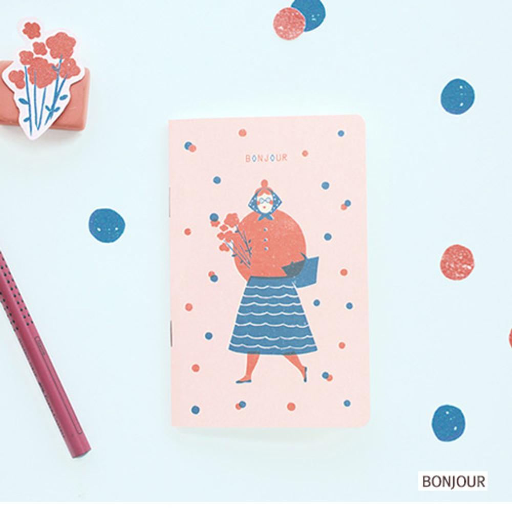 Bonjour - Breezy day small lined notebook