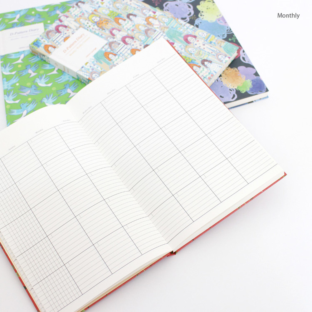 Monthly - D pattern undated diary scheduler