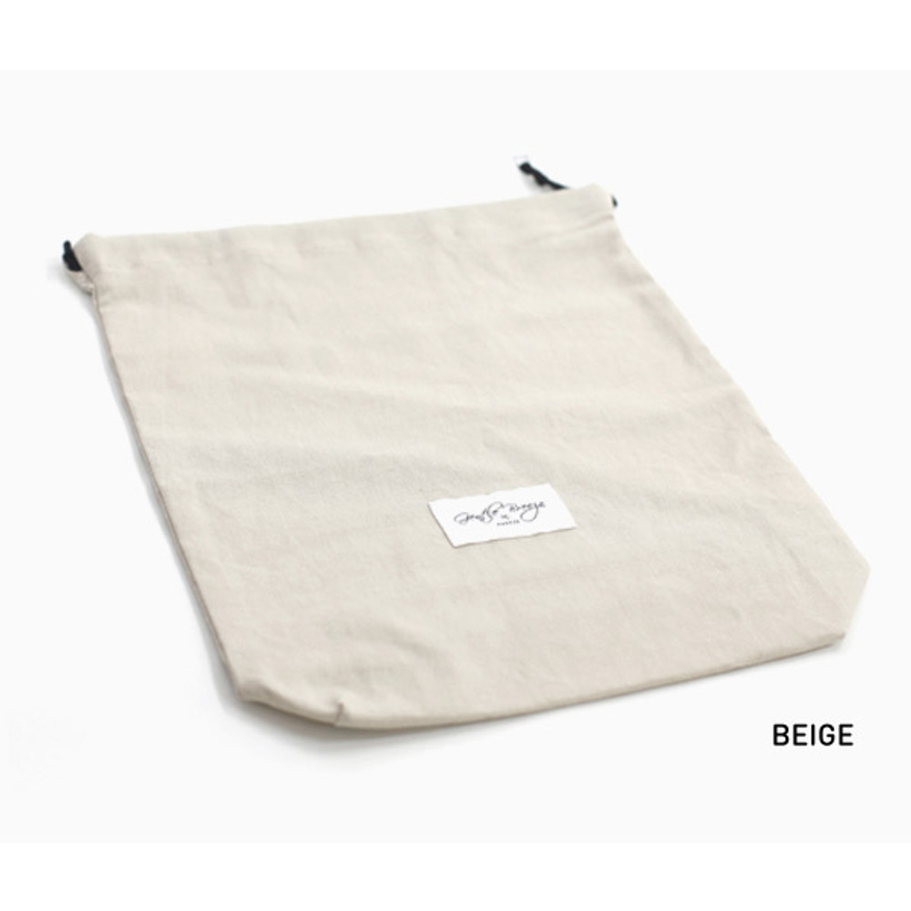 Beige - Natural and Pure fabric gentle drawstring pouch