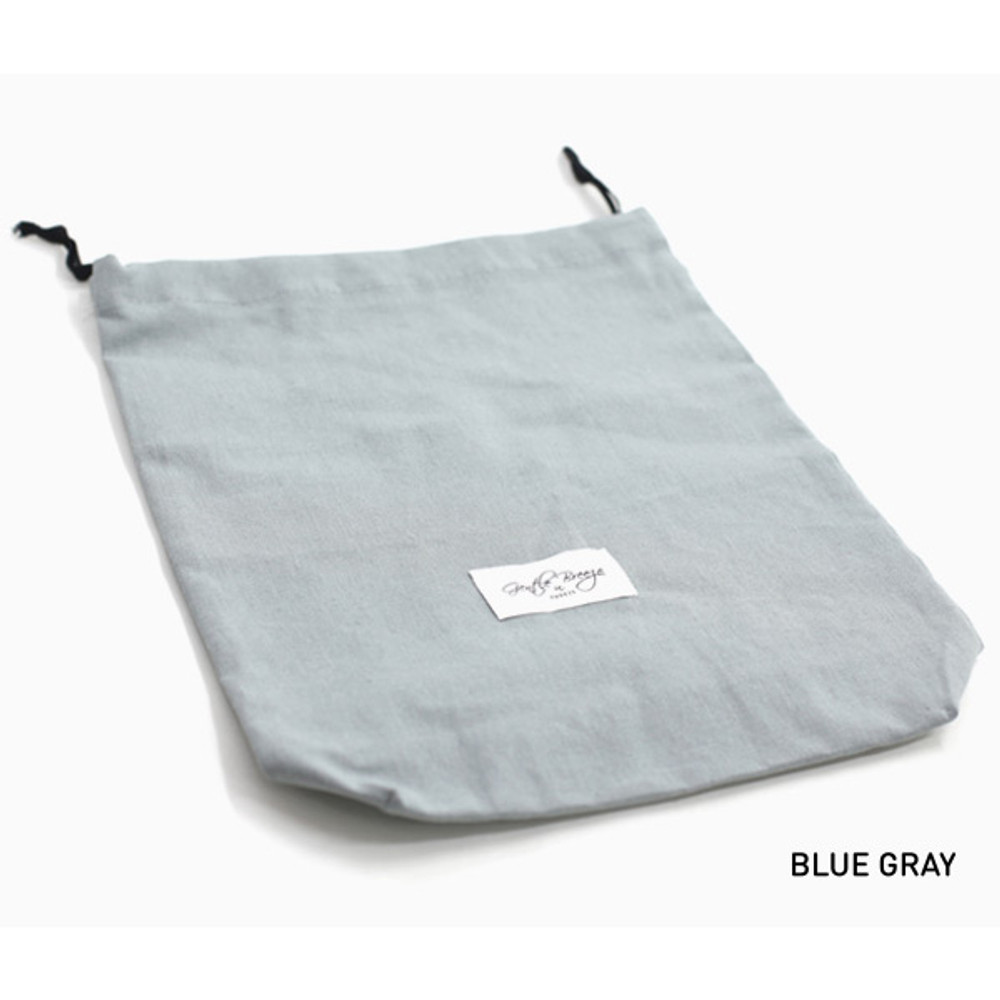 Blue gray - Natural and Pure fabric gentle drawstring pouch