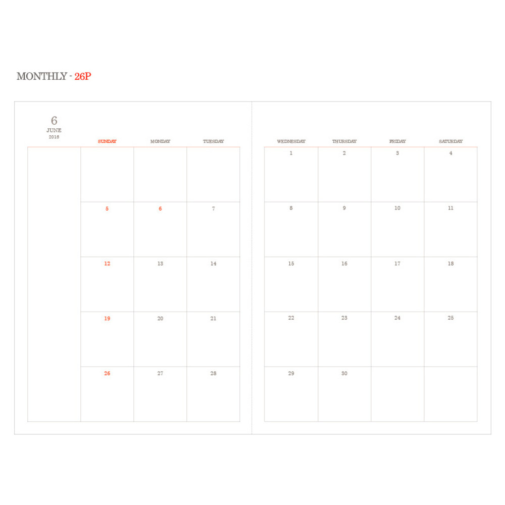 Monthly - 2016 Object dated weekly diary