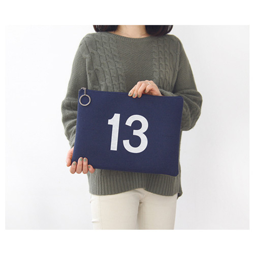 Navy & Lime - The Basic felt two tone laptop pouch