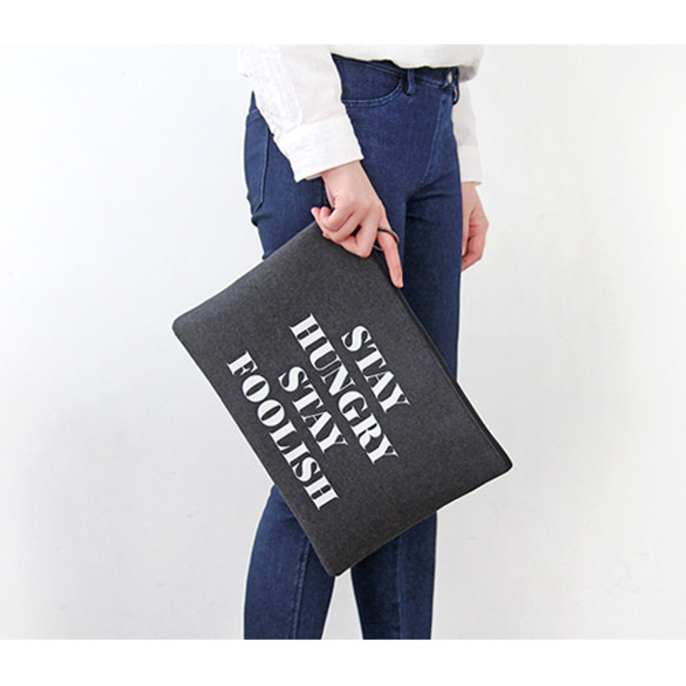 Charcoal & Gray - The Basic felt two tone laptop pouch
