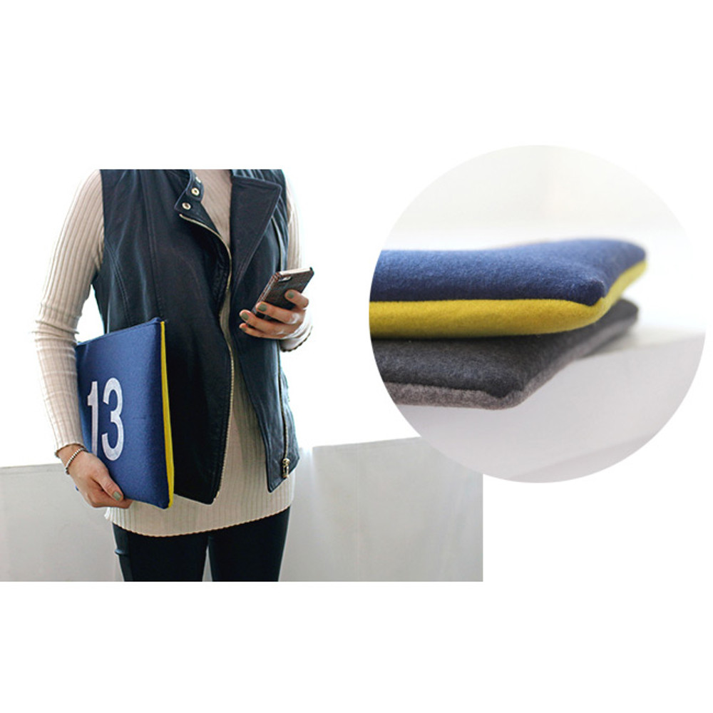 Detail of The Basic felt two tone laptop pouch