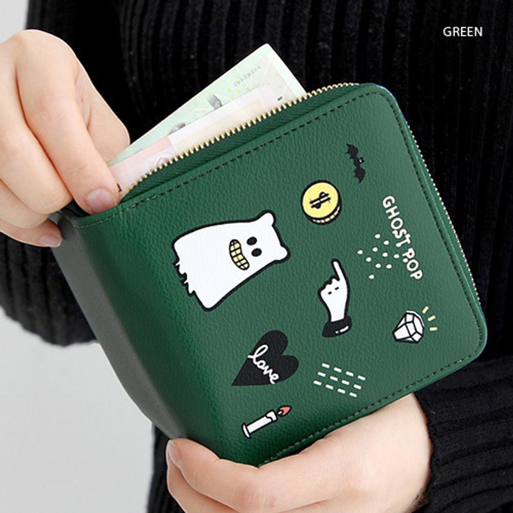 Green - Ghost pop zip around small wallet ver.2