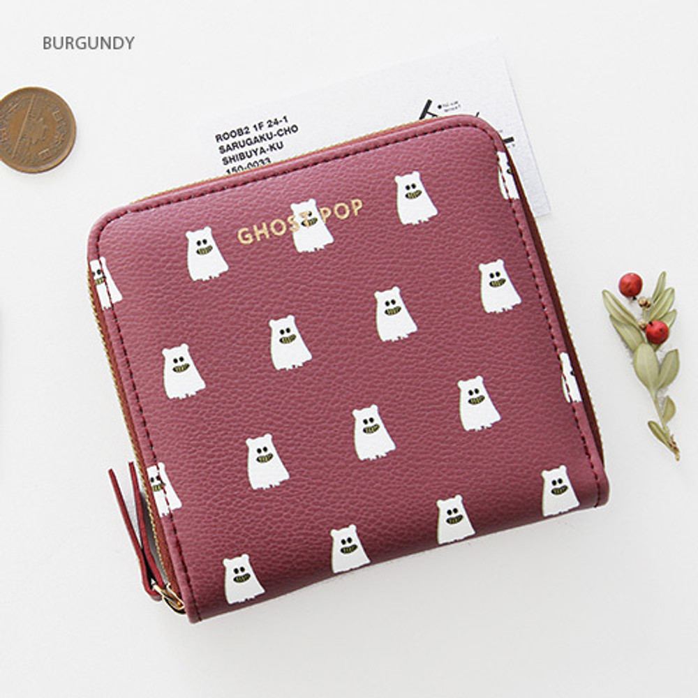 Burgundy - Ghost pop zip around small wallet ver.2