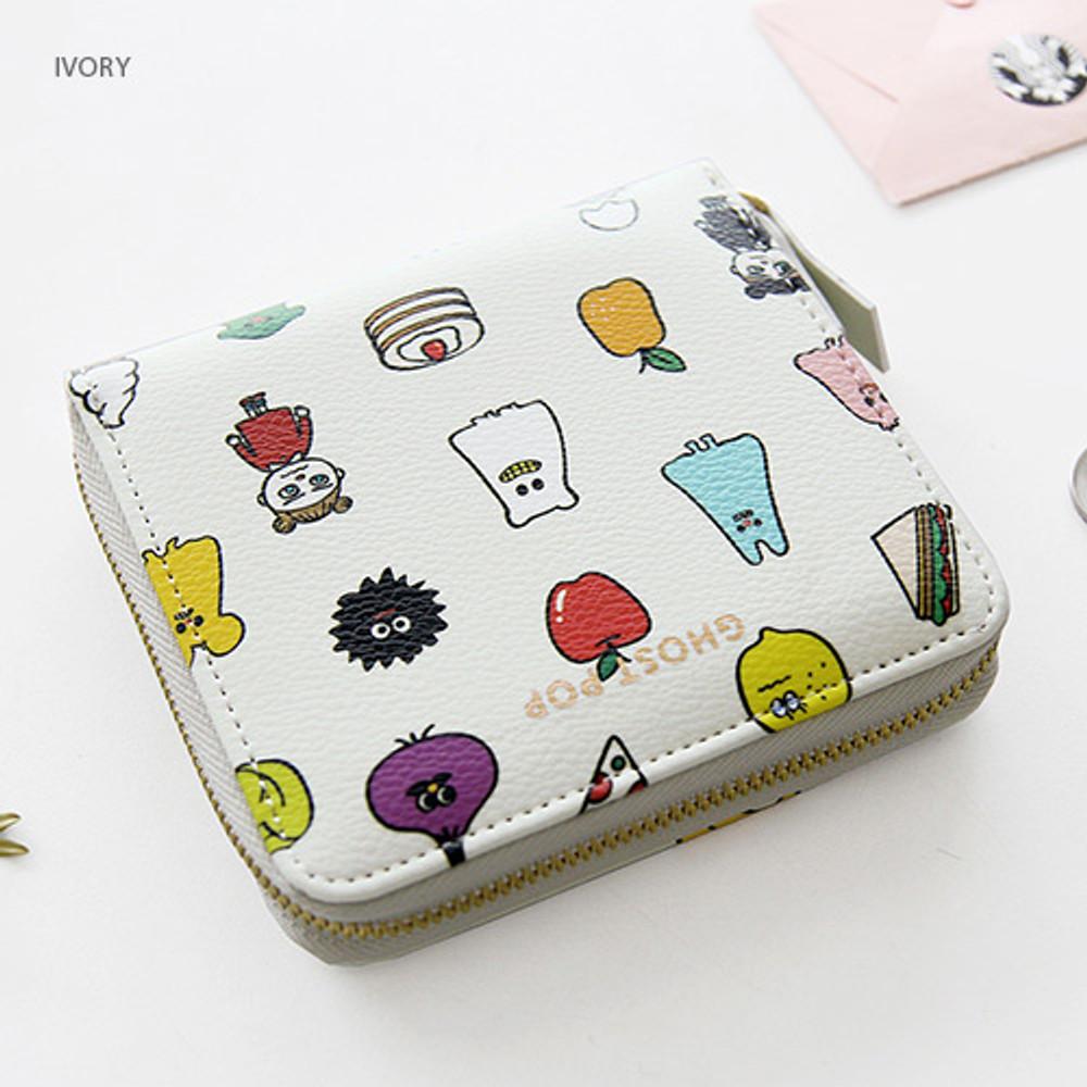 Ivory - Ghost pop zip around small wallet ver.2